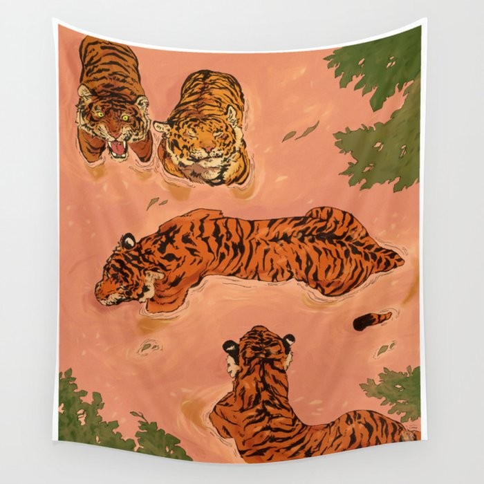 Tiger Beach Wall Tapestry