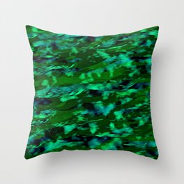 Abstract drawing of the movement of the sea wave in blue and green shades. The movement of fish among the algae. The effect of oil paints Throw Pillow