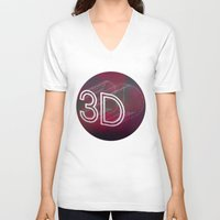 3d V-neck T-shirts featuring 3D by Andra Vlasceanu