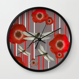 AWESOME DRAGONFLIES & RED POPPY FLOWERS ART Wall Clock