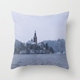 Misty Bled Lake Throw Pillow