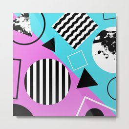Stripes And Splats 1 - Wacky, Random, Abstract, Black And White Stripes, Blue and pink Artwork Metal Print