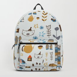 hygge cat and bird gray Backpack