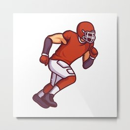 Football Player in Running Motion Metal Print