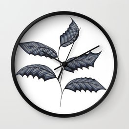 Abstract leaves - denim photocollage Wall Clock