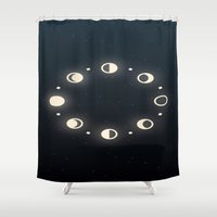 moon phases Shower Curtains featuring Moon Phases by Sweet Colors Gallery