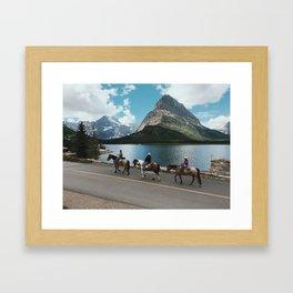 Horseback Riding, Swiftcurrent Lake, Many Glacier, Glacier National Park, Montana Framed Art Print