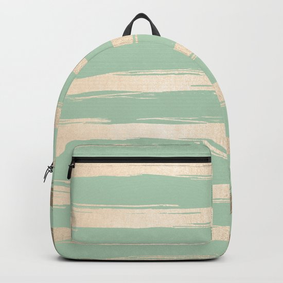 Simply Brushed Stripes White Gold Sands on Pastel Cactus Green Backpack