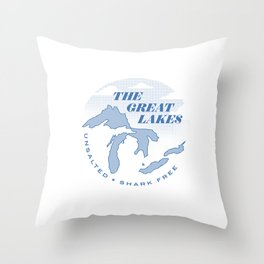 The Great Lakes - Unsalted & Shark Free Throw Pillow