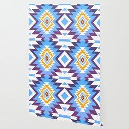 Bright blue native pattern Wallpaper