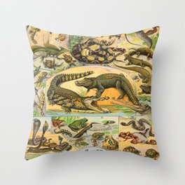 Reptiles Chart Nature Vintage Snake Turtle Alligator Throw Pillow