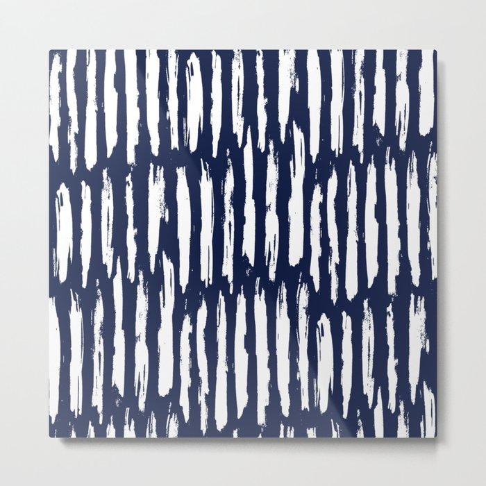 Vertical Dash White on Navy Blue Paint Stripes Metal Print
