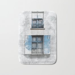 Architect Drawing of Blue Wooden Windows Bath Mat