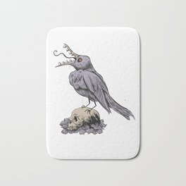 Black Bird on Skull Bath Mat