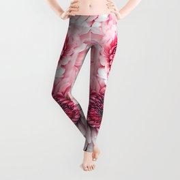 Pink asters Leggings