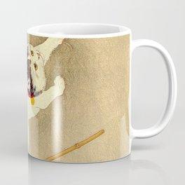Japanese Woodblock Print Cat Lantern Playful Vintage Art Coffee Mug