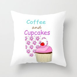 Coffee And Cupcakes Throw Pillow
