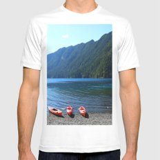 Lake Crescent With Beached Canoes MEDIUM White Mens Fitted Tee