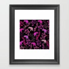 Watercolor Flowers & Elephants III Framed Art Print