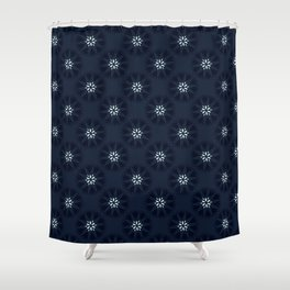 Indigo Blue Polka Dot Floral Shower Curtain