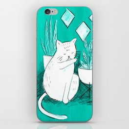 Turquoise Cat iPhone Skin