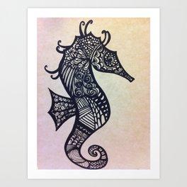 zen seahorse Art Print