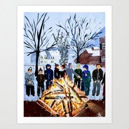 Winter Wassail Bonfire Art Print