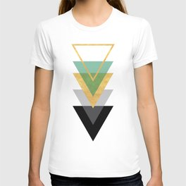 FIVE GEOMETRIC ABSTRACT HOLLOW PYRAMIDS TRIANGLE T-shirt
