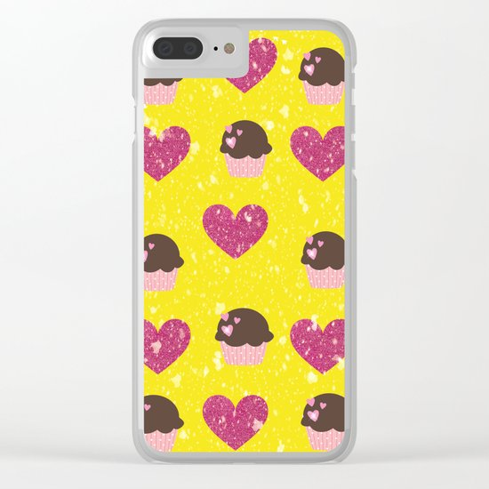 Hearts and cupcakes Clear iPhone Case