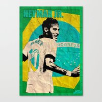 neymar Canvas Prints featuring Neymar by John Sideris