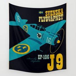 Swedish EP-106 airplane poster ShreddyStudio Dennis Weber Wall Tapestry