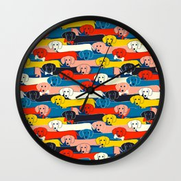 COLORED DOGS PATTERN 2 Wall Clock