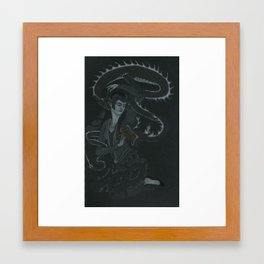Lady Taming Dragon's Tongue Framed Art Print