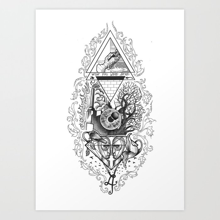 Tattoo Music Tribute To Pinkfloyd Art Print By Gewoonjas