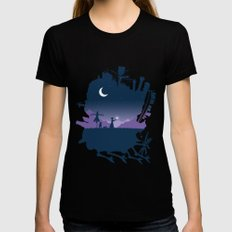 Sophie and Calcifer MEDIUM Black Womens Fitted Tee
