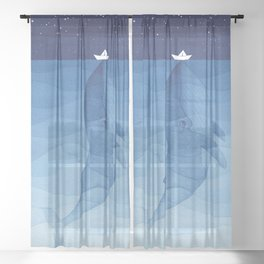 Whale blue ocean Sheer Curtain