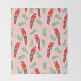 Macaw parrot tropical bird jungle animal nature pattern Throw Blanket