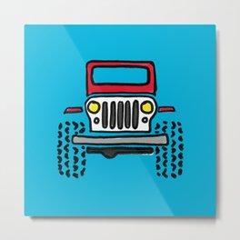 Jeep 'drawing' RED Metal Print