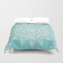 Elegant White Gold Mandala Sky Blue Design Duvet Cover