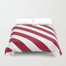 Crimson Red Diagonal Stripes Pattern Duvet Cover
