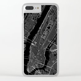 New York City Black Map Clear iPhone Case