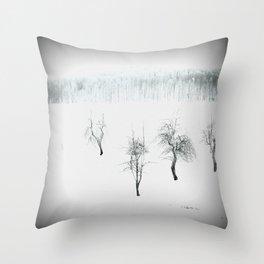 Bare bones in Winter Throw Pillow