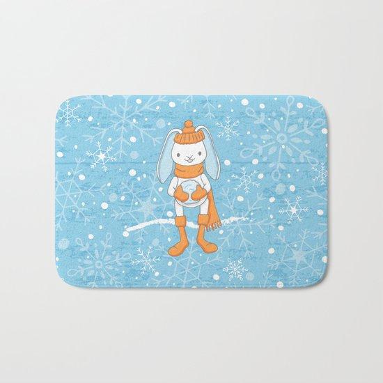 Bunny and Snowflakes_3 Bath Mat