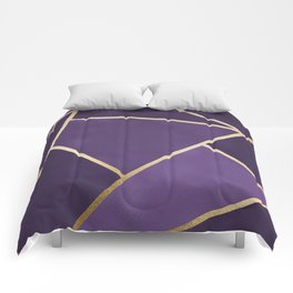 Beautiful Amethyst Gold Geometry Art Comforters