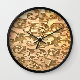 Stylized Foliage Leaves In Gold Wall Clock