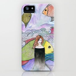 A Girl with Fish iPhone Case