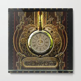 Steampunk, awesome clock and gears Metal Print