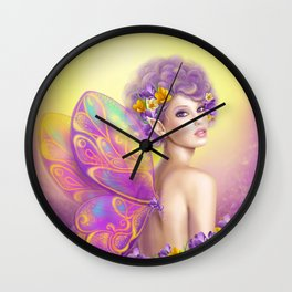 Beautiful girl fairy butterfly at pink and purple flower background Wall Clock