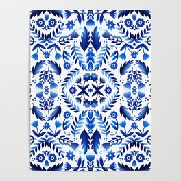 Folk Art Flowers - Blue and White Poster