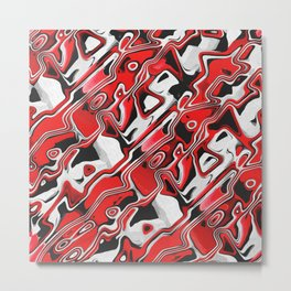Red, White And Black Abstract Metal Print